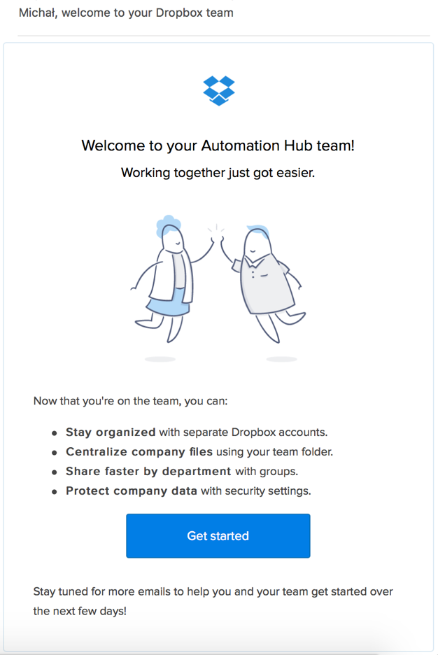 onboard new customers with welcome email