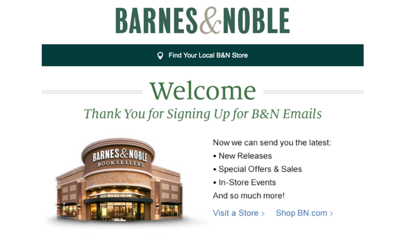 A fragment of a welcome email from Barnes & Noble explaining what to expect