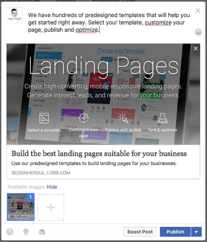 preview your landing page on Facebook