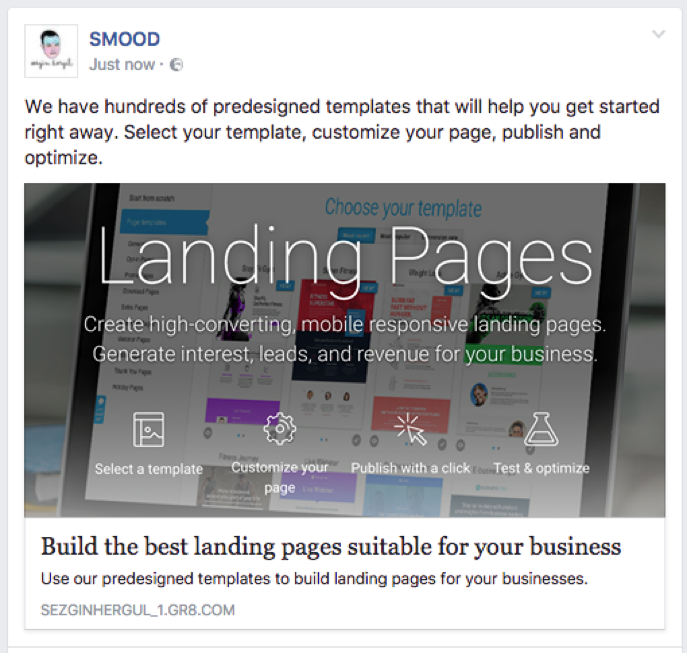 your landing page published on Facebook