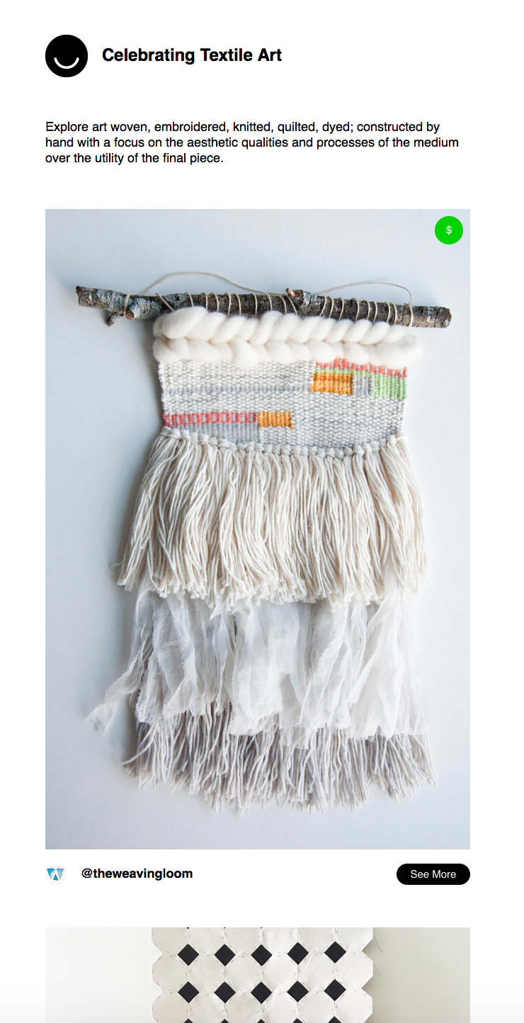 Ello celebrating textile art email