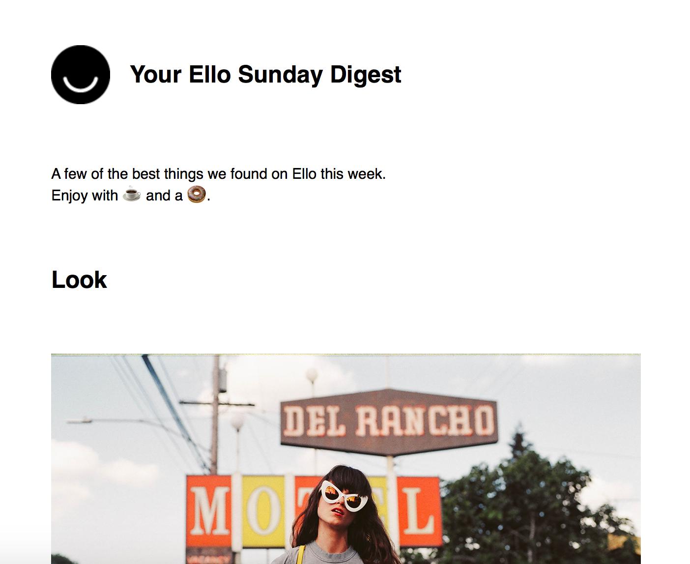 Ello Sunday digest email