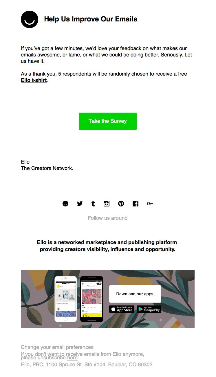 Ello feedback survey email