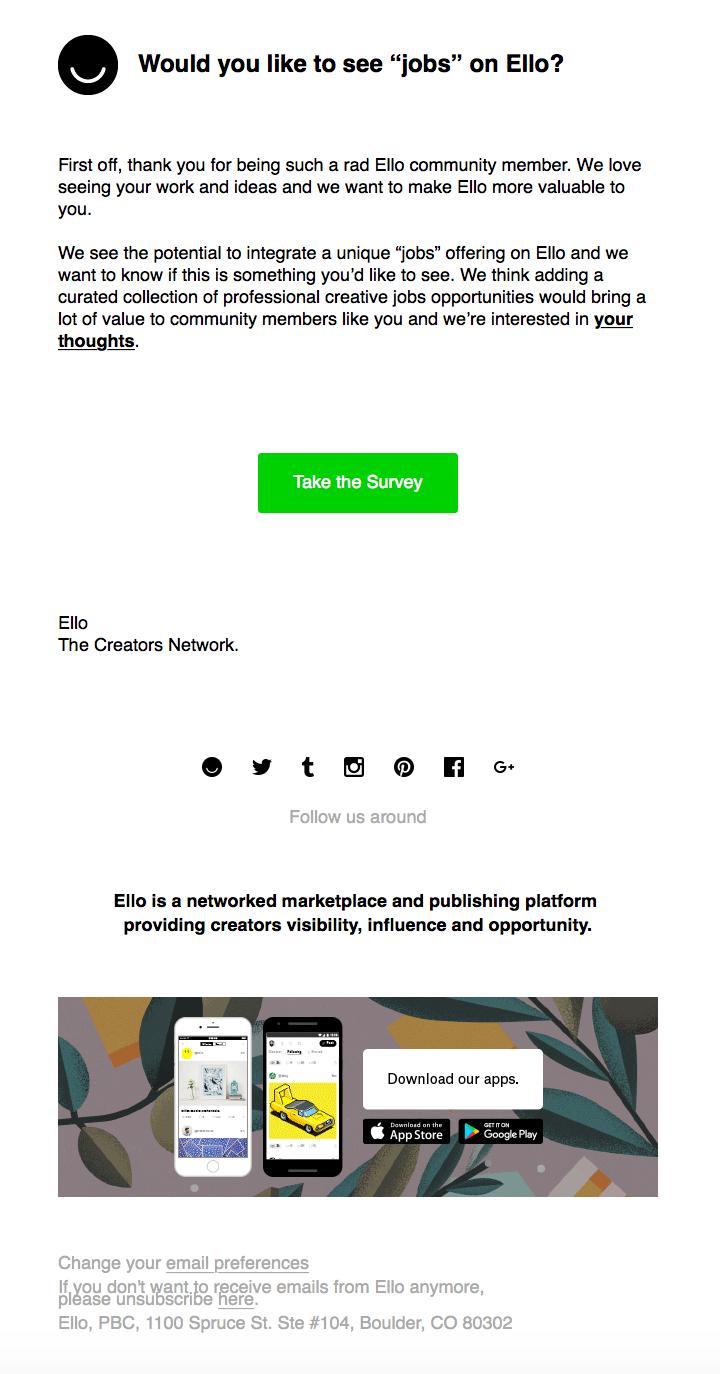 Jobs on Ello email
