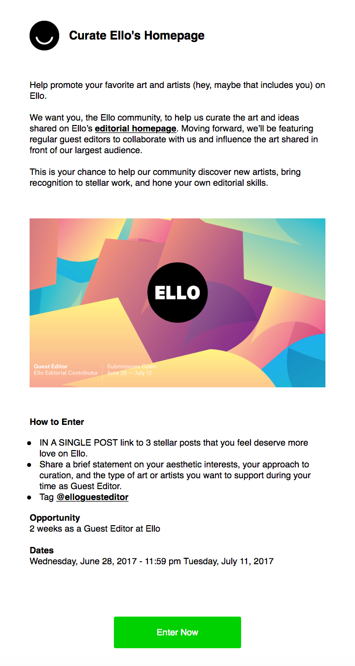 Be a guest editor for Ello email