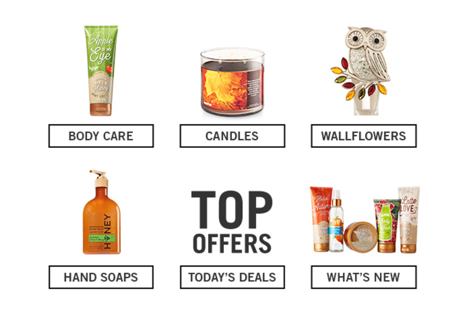 bath and body works example of email based on behavioral content
