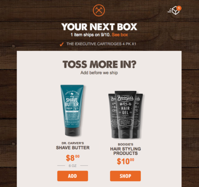 dollar shave club example of upsell email