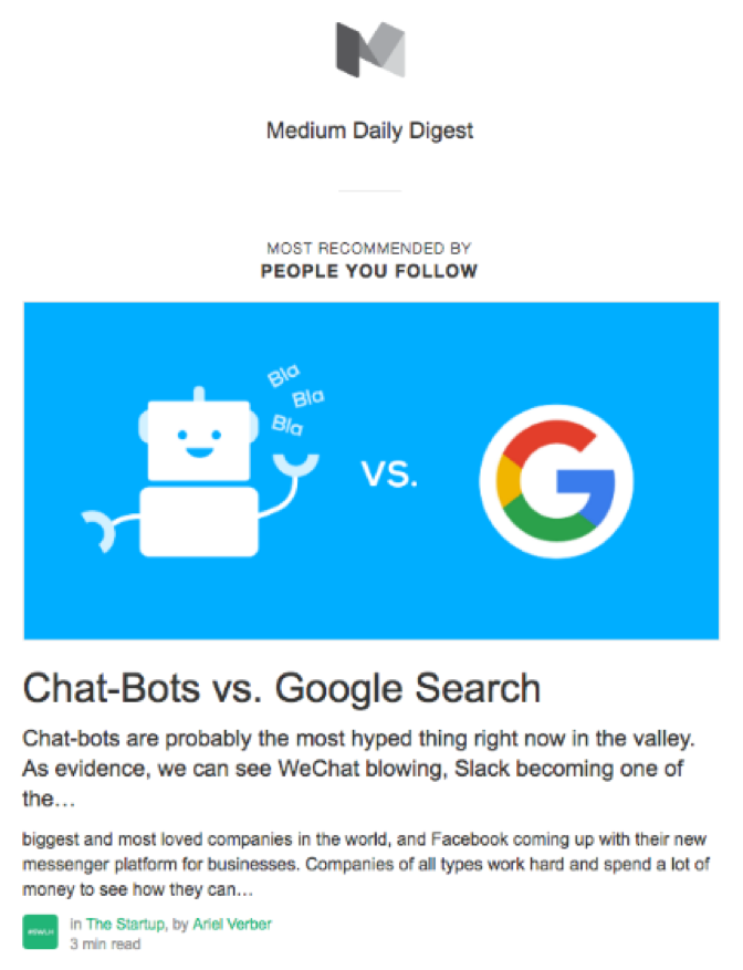 Medium's daily digest example of small business emails