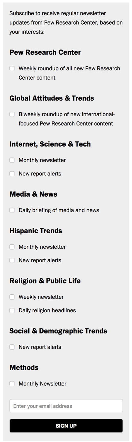 Pew Research opt-in form example based on interests