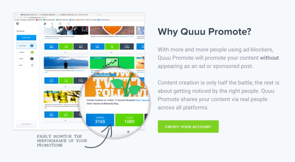 quuu promote growth hacking tool example