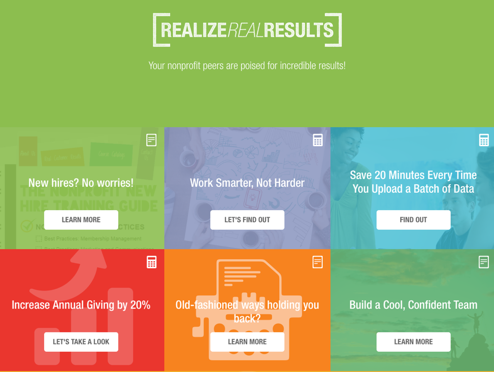 Blackbaud example interactive content Realize Real Results
