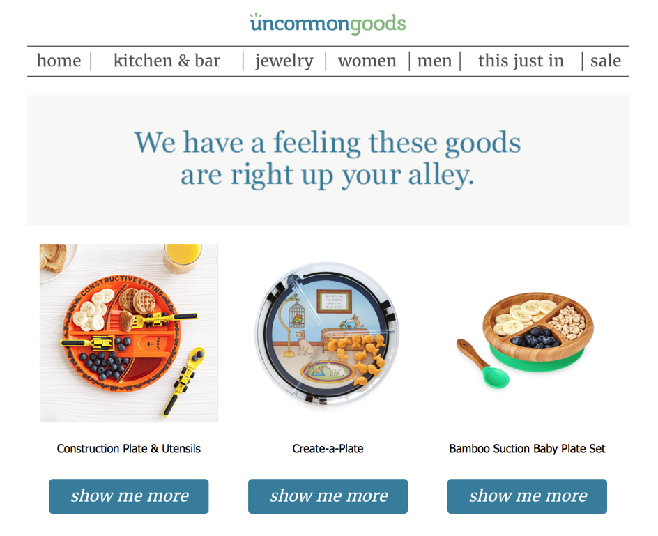 uncommon goods email example