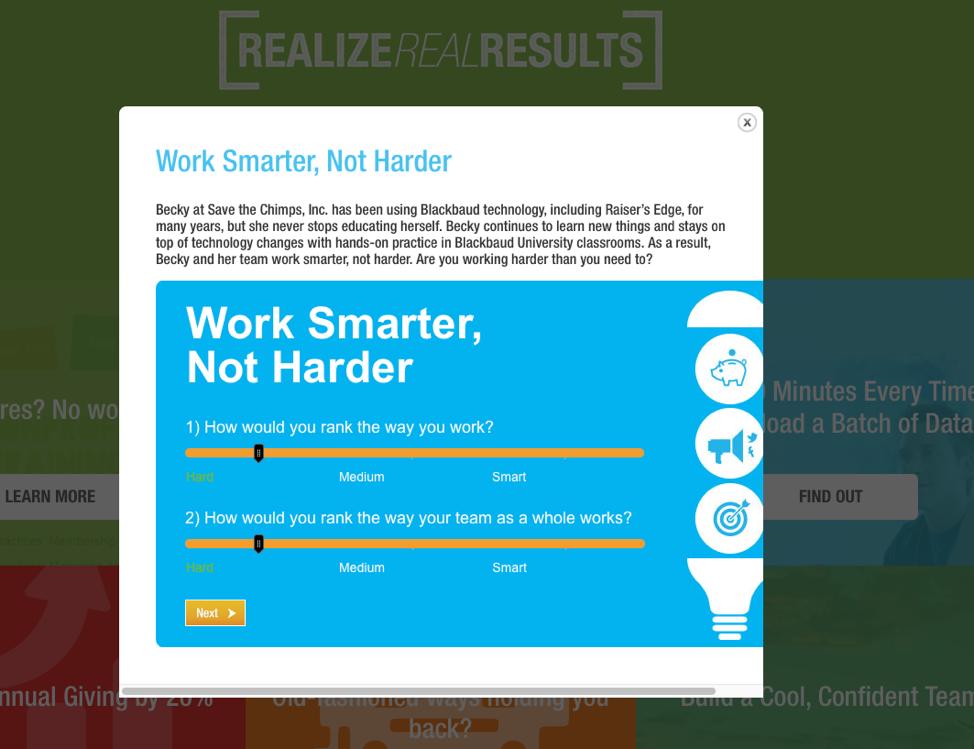 Blackbaud interactive content example: work smarter, not harder