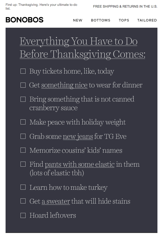 Bonobos Thanksgiving email to-do list