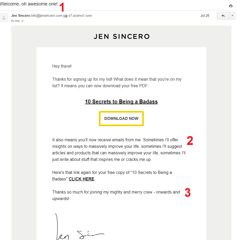 jen sincero welcome email