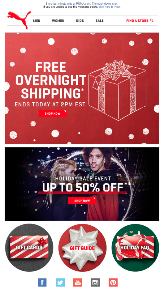 Puma free overnight shipping email offer for Christmas