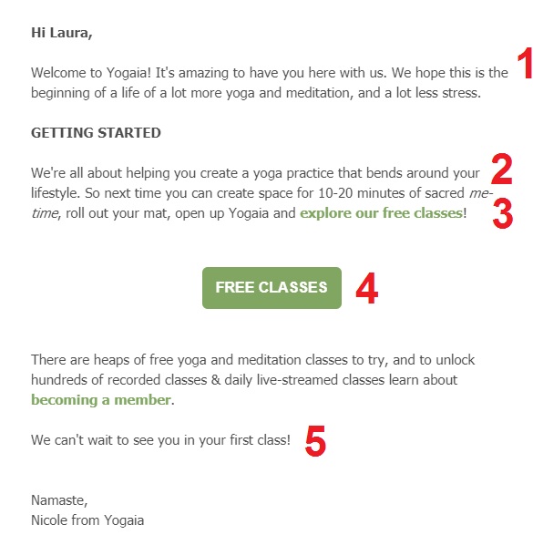 yogaia welcome email