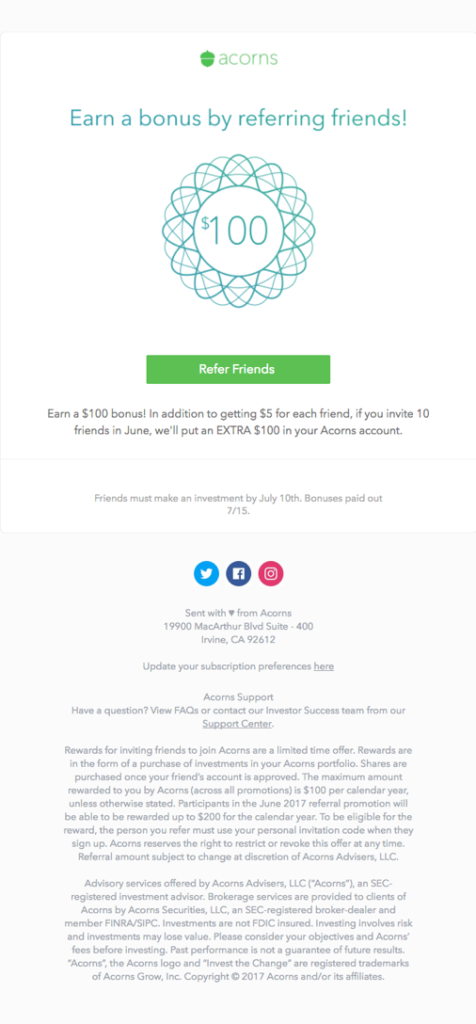 Acorns Referral Program Email