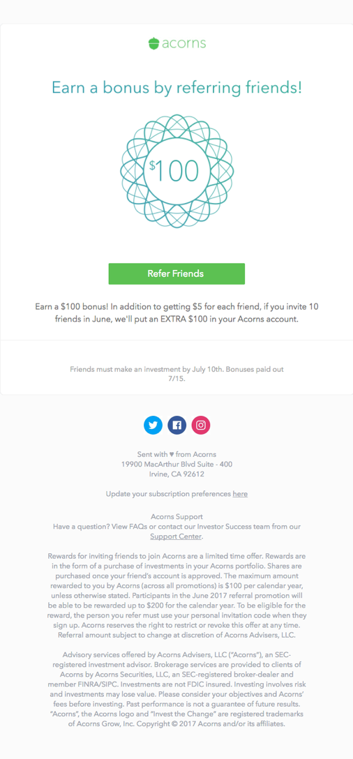 Acorns Referral Program Email