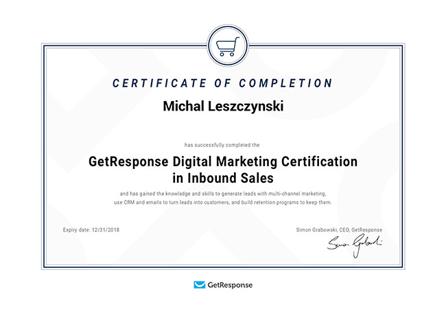 Inbound Sales Certificate – GetResponse Digital Marketing Certification Program