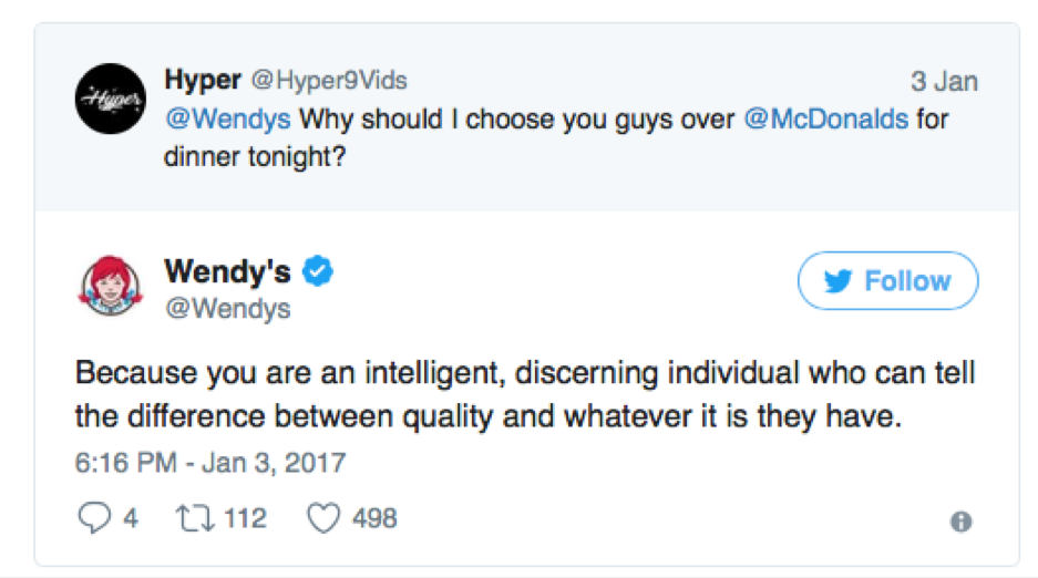 wendy's social media roast of 2017