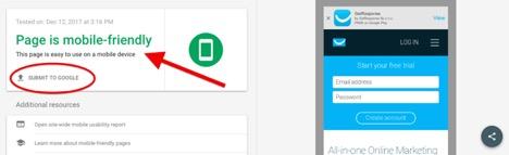 Mobile Friendly web page check getresponse url