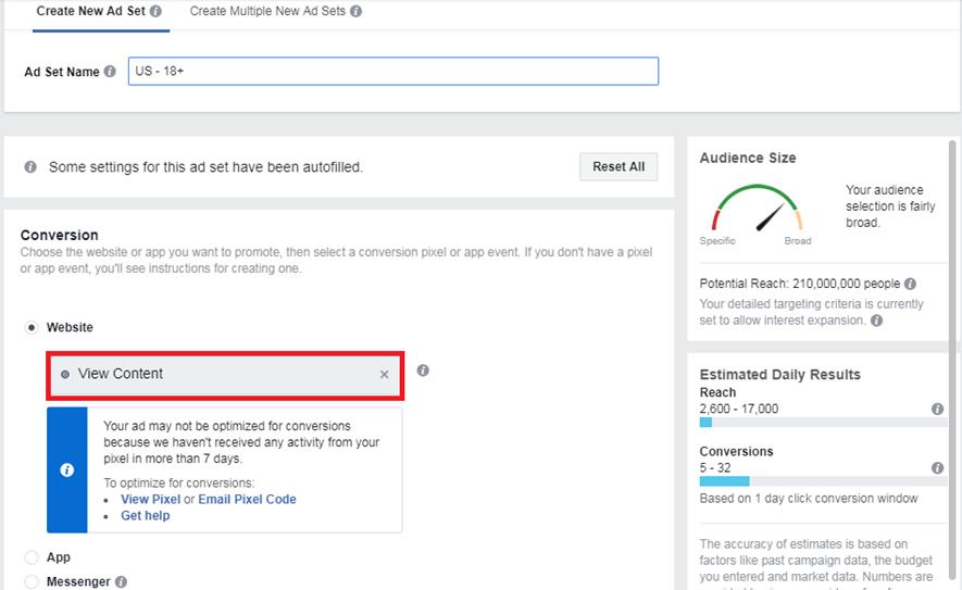 Ad Set creation, facebook ad to find effective freelancers
