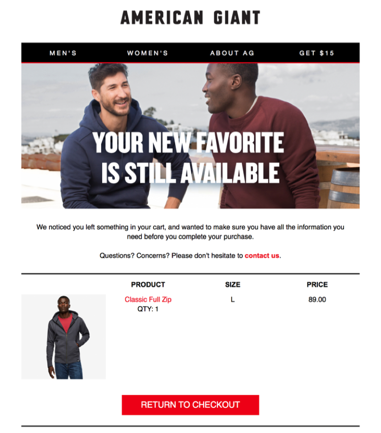 American Giant ecommerce win-back campaign, first email in the cycle, abandoned cart solution, the chosen product is still available header