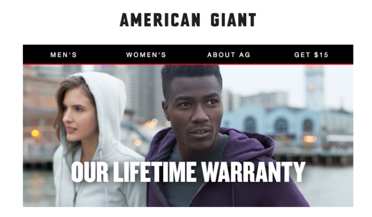 American Giant win-back campaign lifetime warranty email