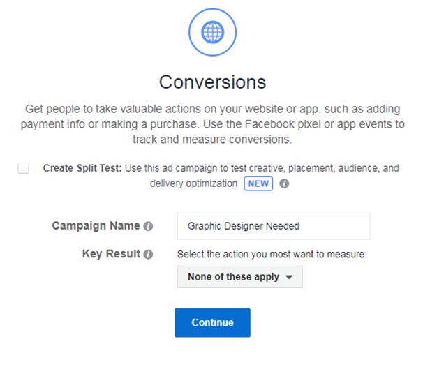 Facebook Ad conversions campaign name finding freelancers
