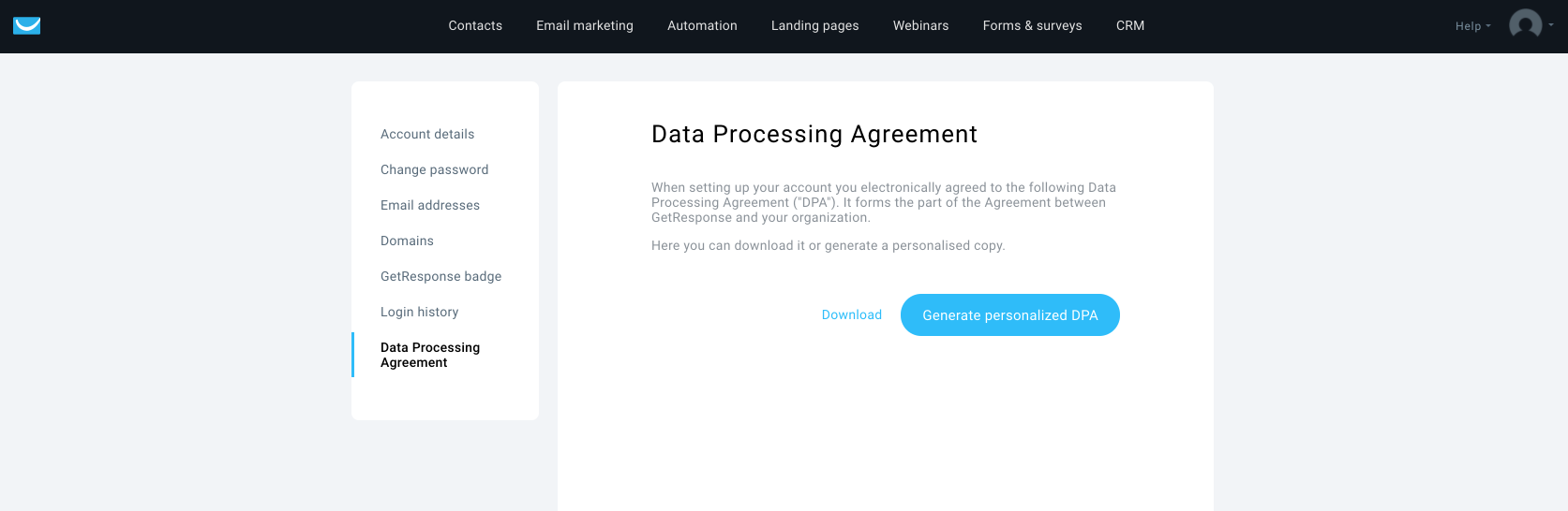 data processing agreement Email Marketing, Autoresponder, Email Marketing Software - GetResponse 2018-05-22 16-57-30