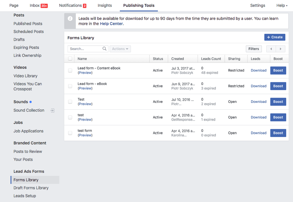 Facebook Lead Ads publishing tools section