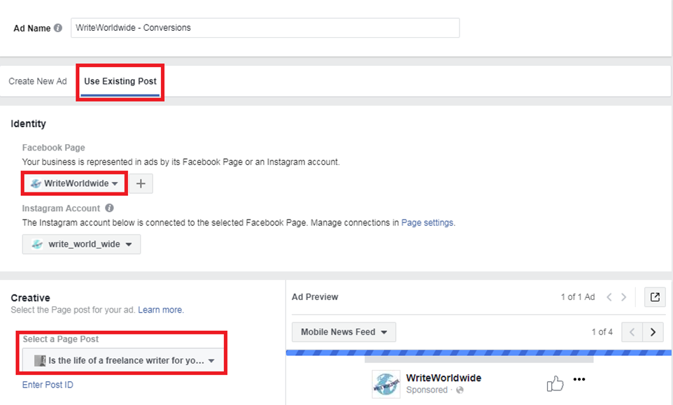adding-an-existing-post-facebook-ad-finding-creative-fleerancers