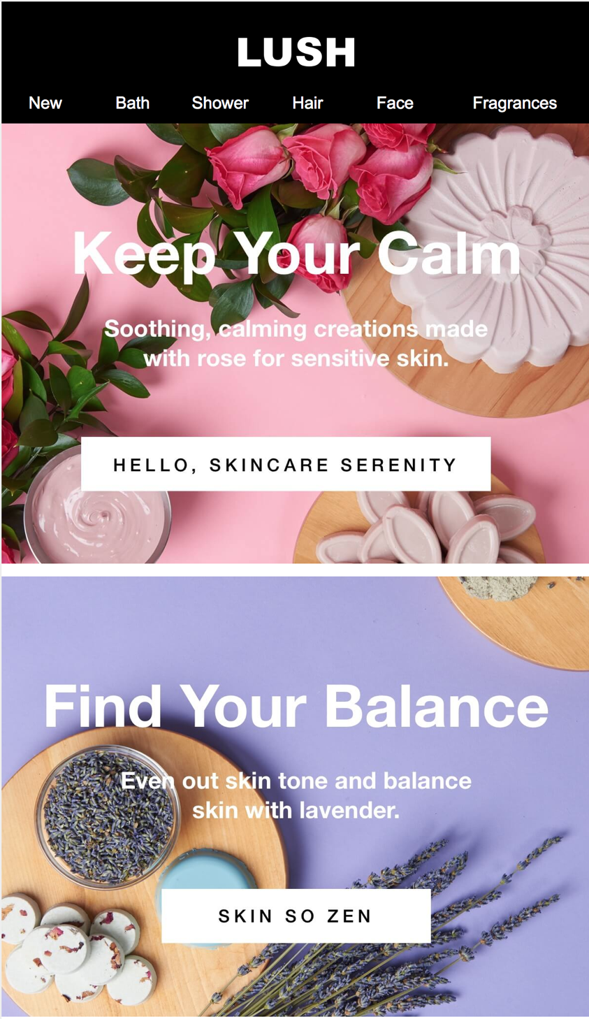 A fragment of newsletter sent by Lush introducing new products through benefits (and possible segments)