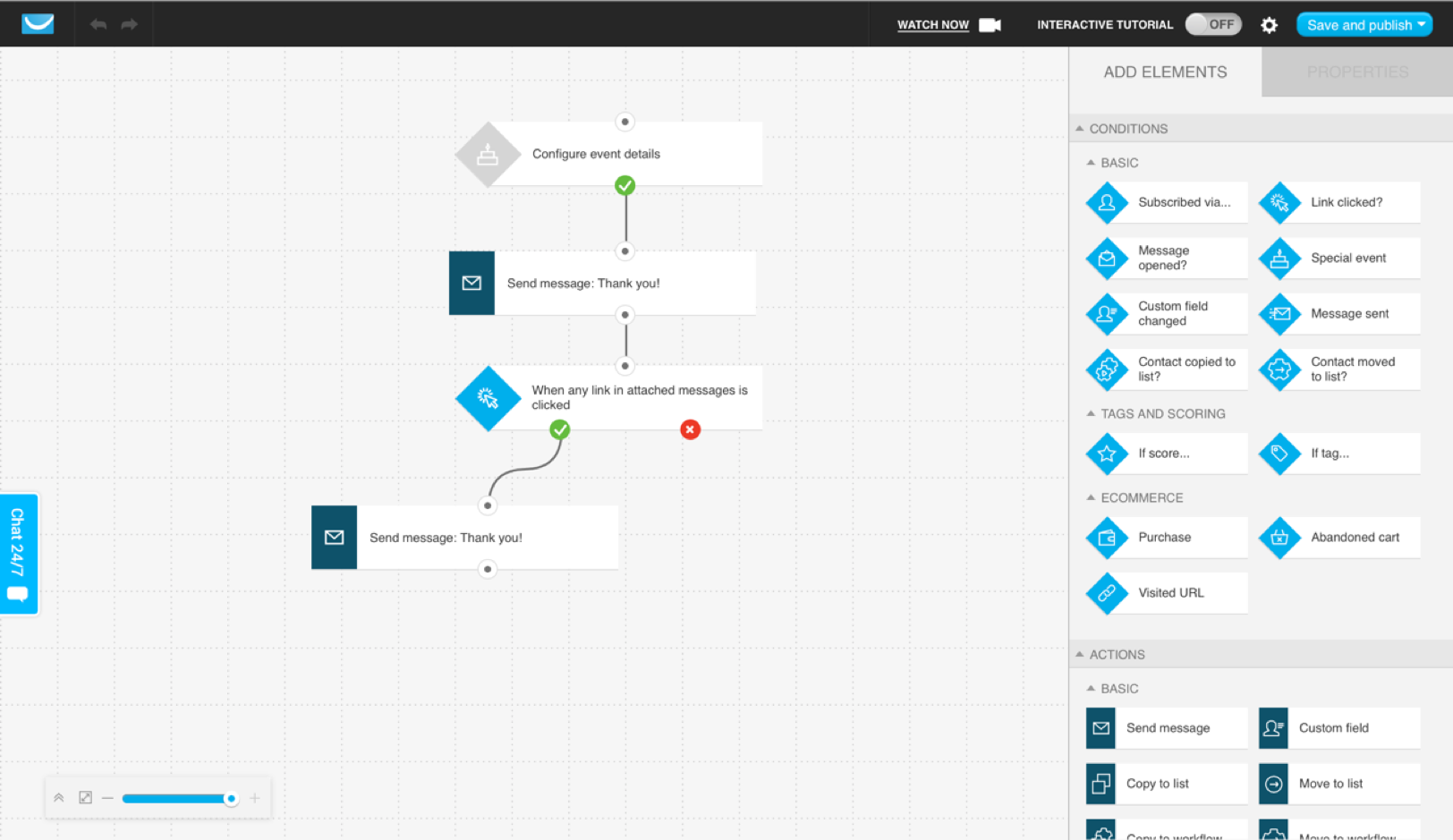 A marketing automation workflow triggered with the special event condition