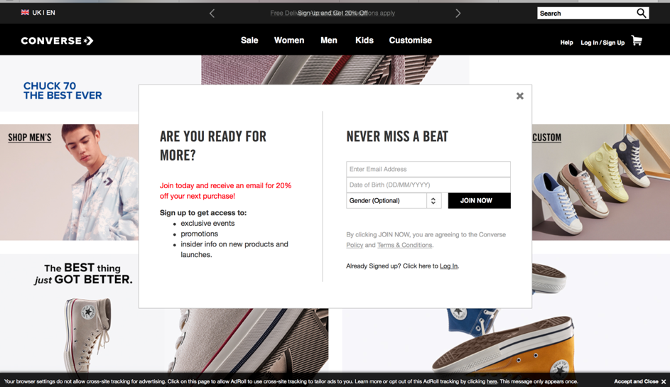 A signup popup on converse.com