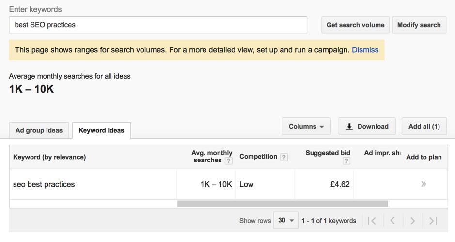 Google Keyword Planner best SEO practices