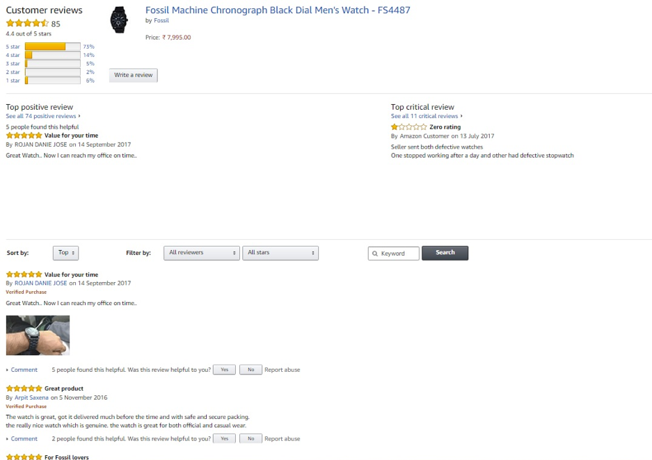 Product pages – Amazon's customer reviews