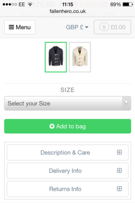 Product pages – options on mobile