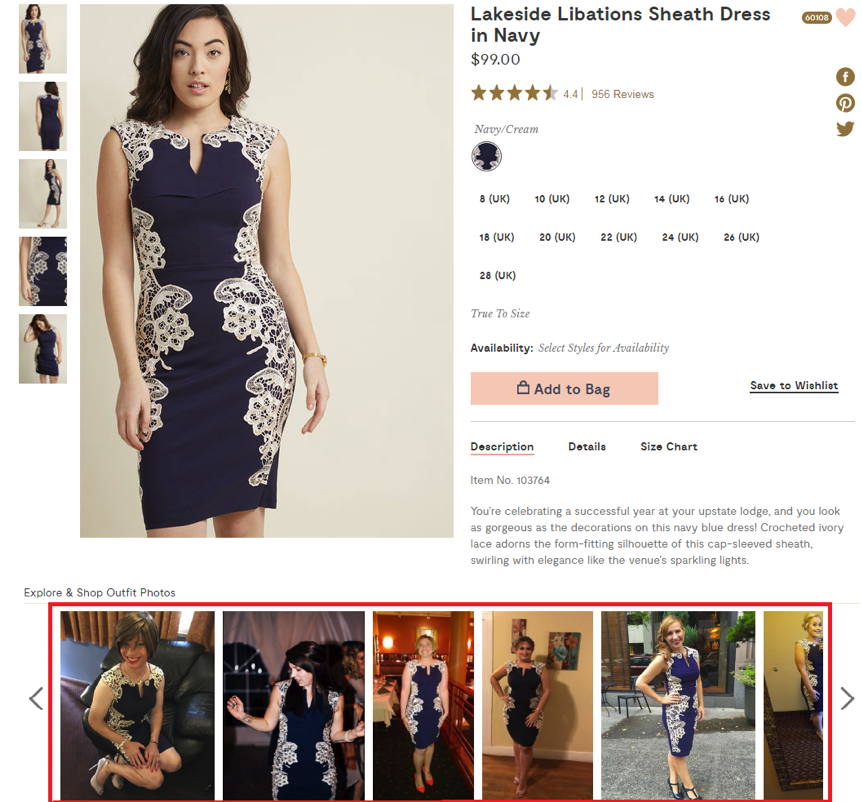 Product pages – product images from ModCloth