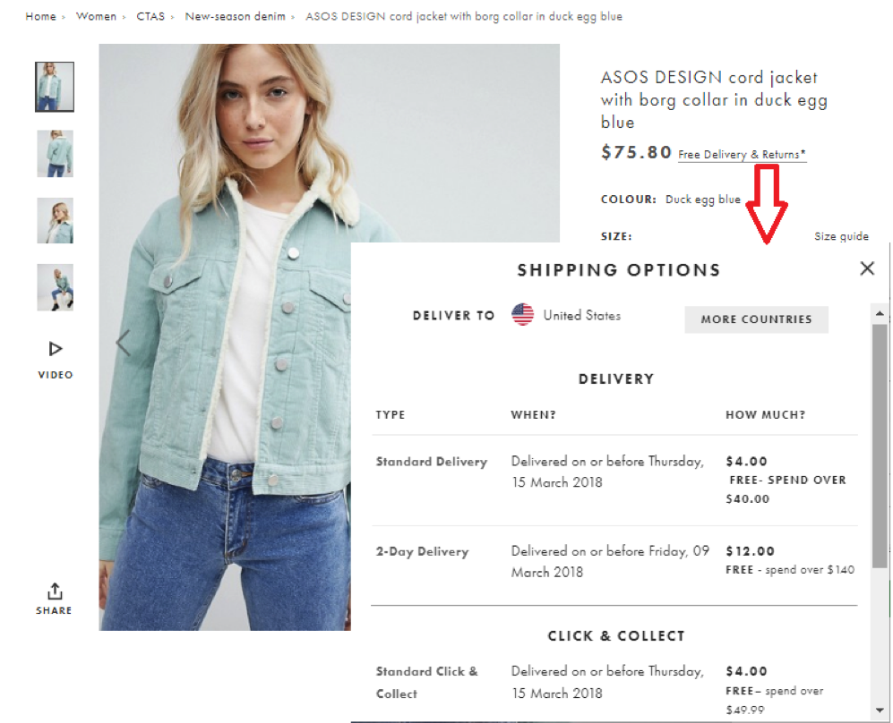 Product pages – shipping information from ASOS