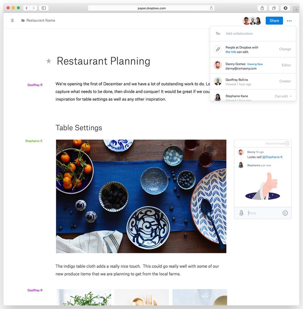 Productivity apps – dropbox paper