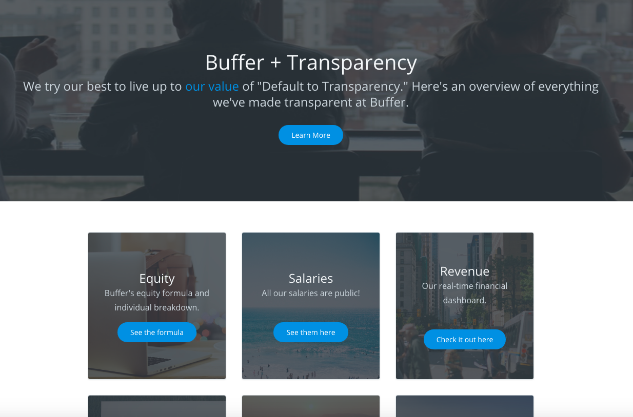 A screenshot from Buffer's Transparency dashboard