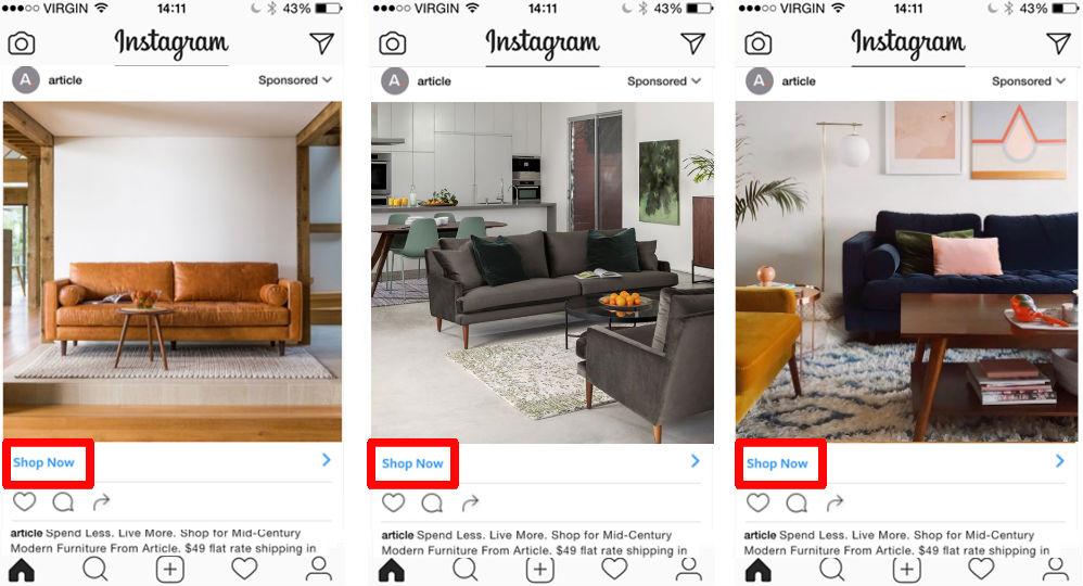 conversion goal – shop now button instagram ads