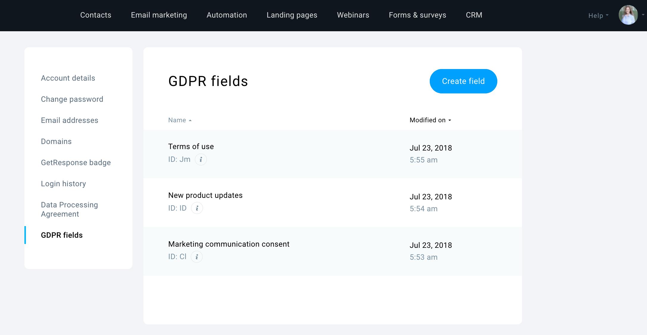 Manage GDPR fields GetResponse
