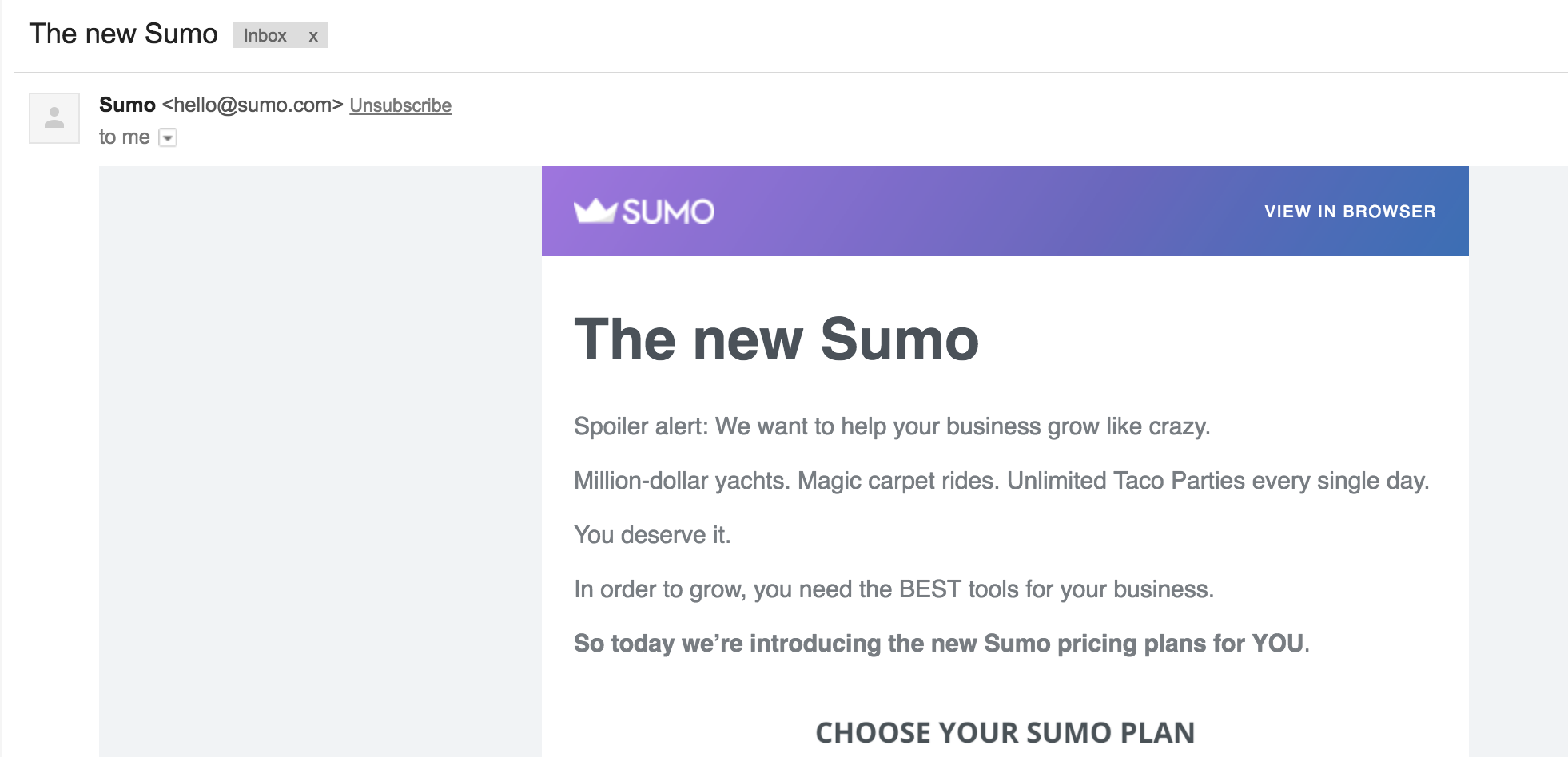 Sumo Email copy