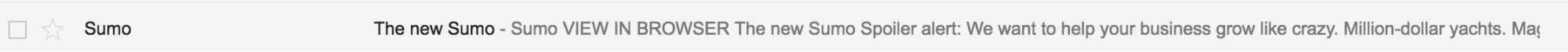 Sumo email subject line copy