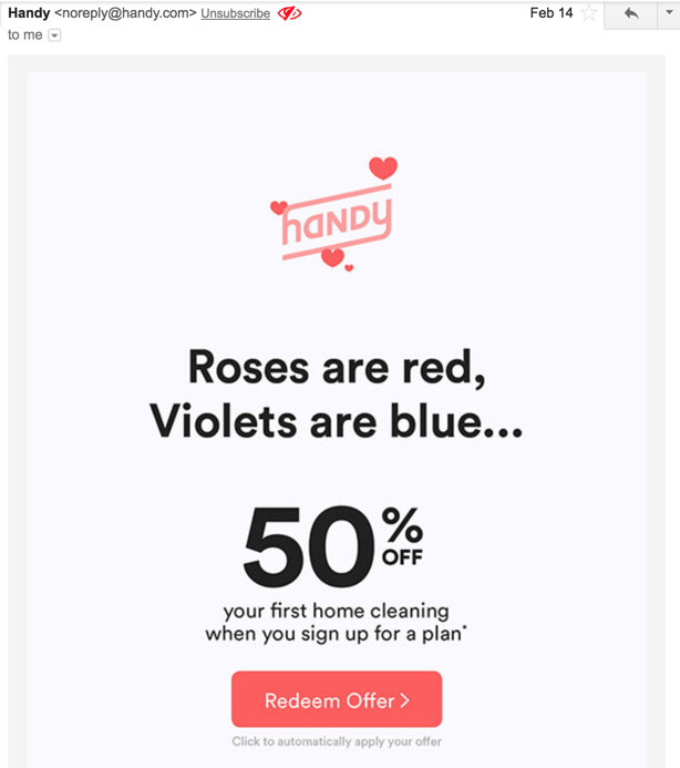handy valentines themed email
