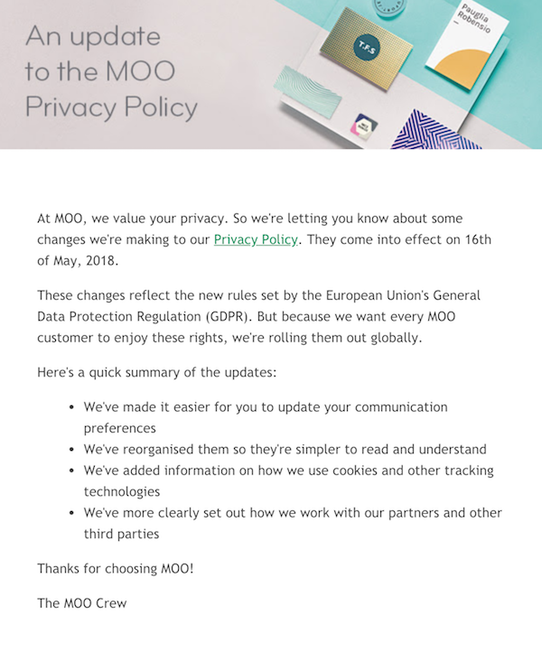 an update to the moo privacy policy email
