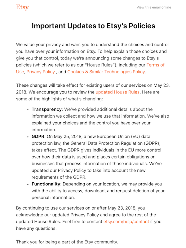 updates to etsy's policies gdpr email